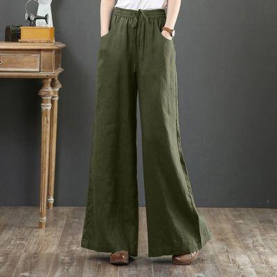 Wide Leg Pants High Waist Solid Flare Pants Casual Loose Long Trousers Streetwear