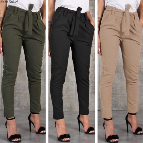 Casual Slim Chiffon Thin Pants For Women High Waist Pants Trousers