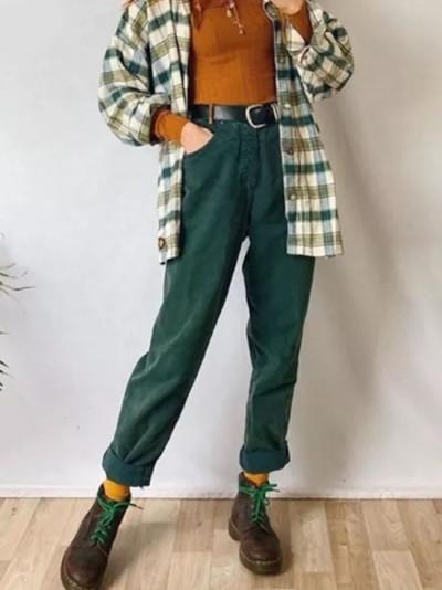 Women pants solid denim fabric trousers straight high waist pants vintage
