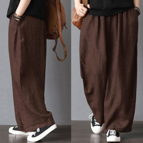 Casual Loose Wide Leg Pants Casual Soft Cotton Linen Bloomers Trousers