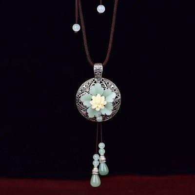 Women Handmade Natural stone Long Tassel Necklace jewelry Ethnic