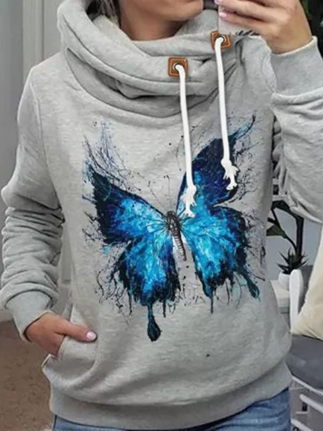 Women's winter hooded butterfly element printing high collar to keep warm