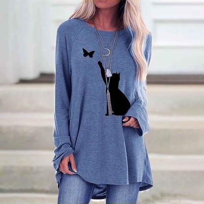 Women's thin pullover fashion O-neck cat print mid-length long-sleeved pullover