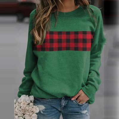Women's winter pullover sweater pattern printing long-sleeved round neck pullover