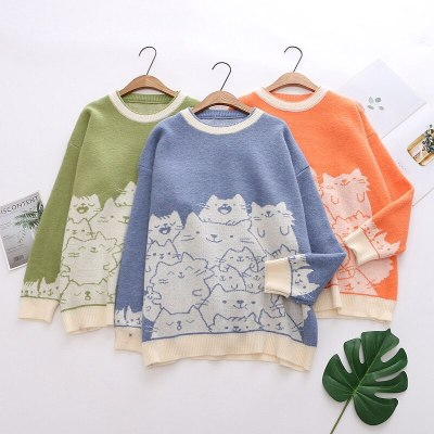 Cartoon Cat Embroidery Knit Jumper Sweater O-Neck Long Sleeve pullovers