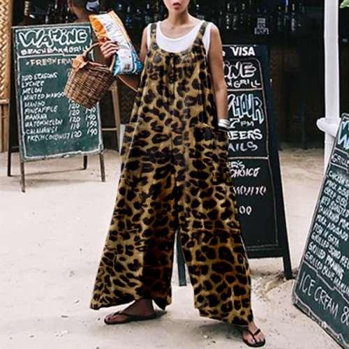 Leopard Print Jumpsuits Summer Jumpsuit Wide Leg Pants Casual Long Trousers