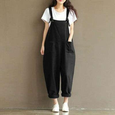 Womens Overalls Loose Dungarees Cami Romper Baggy Playsuit Jumpsuit