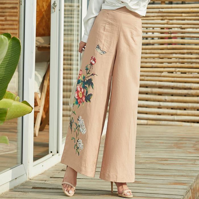 Loose casual high waist wide leg pants printed straight leg pants