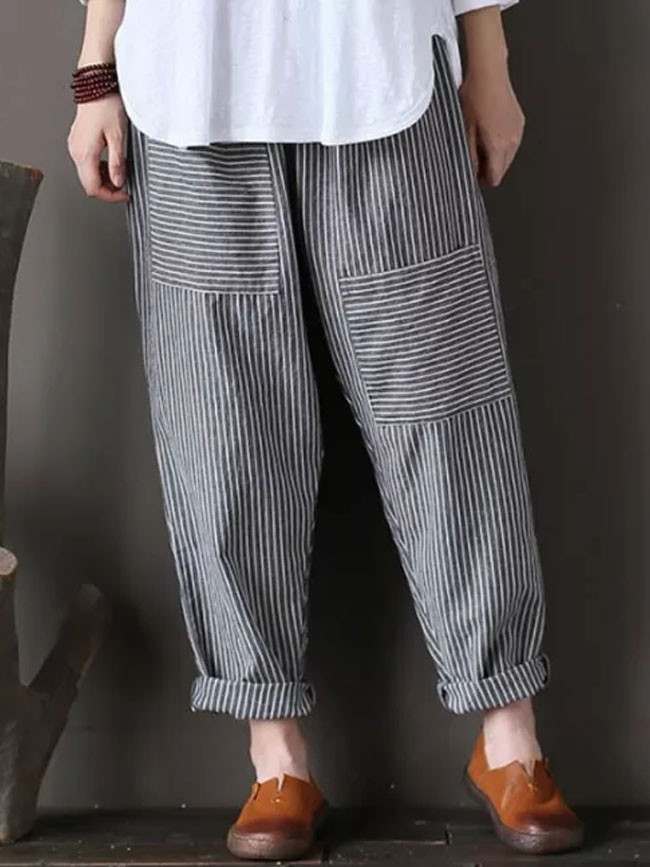 Women Striped Pants Elastic Waist Cotton Linen Loose Trousers Casual Streetwear
