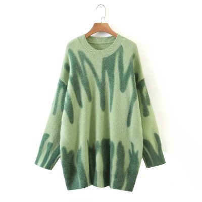Knitted Sweater Women Elegant Green Striped Oversized Pullovers