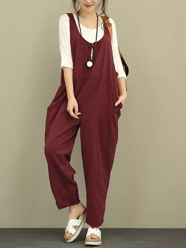 Womens Baggy Dungarees Jumpsuit Trousers Tank Overalls Loose