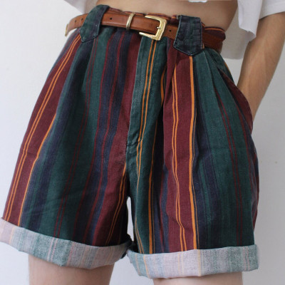 Color striped short summer casual women shorts