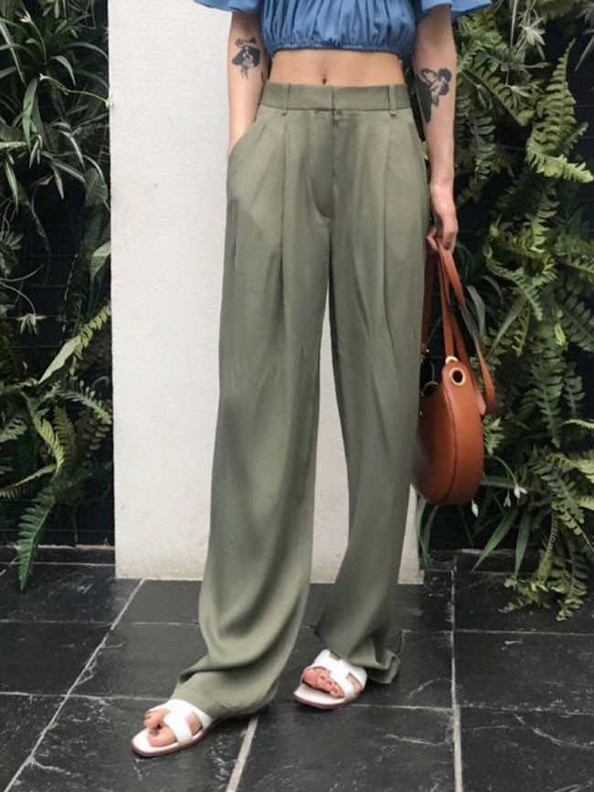 Women High Waist Zipper Pocket Summer Long Trousers