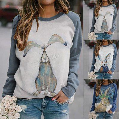 women's pullover sweater new cute rabbit print raglan long-sleeved