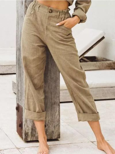 Spring Summer Autumn Casual Linen Pants For Women High Waist Pants