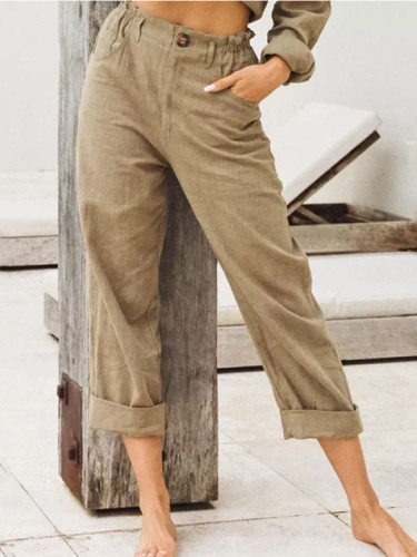 Spring Summer Autumn Casual Linen Pants For Women High Waist Pants