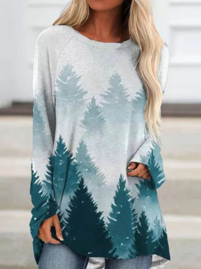 Woman fashion element forest landscape painting printing long-sleeved loose top