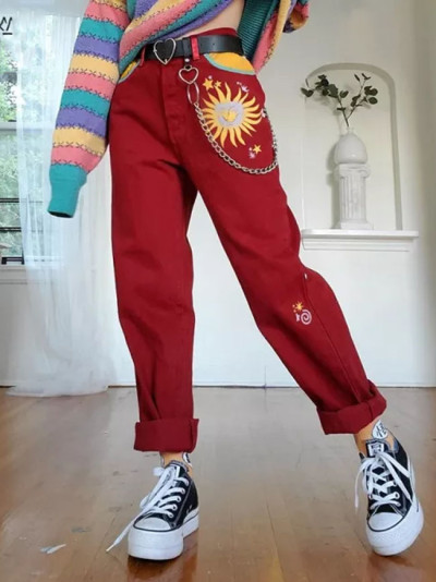 Women's Casual Straight Trousers Red High Waist Long Pants Vintage