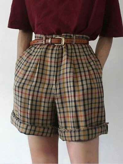 Summer new style plaid casual shorts women