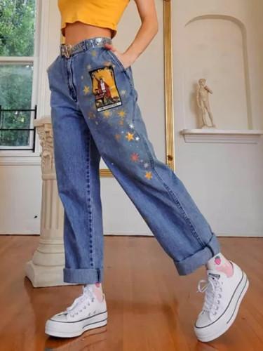 Cartoons Pattern Printed Denim Trousers Vintage Cute Jeans Blue