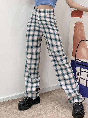 Women Vintage Plaid Trousers Fashion Wide Leg Pants Casual Loose High Waist Pants