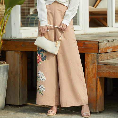 Loose casual high waist wide leg pants printed straight leg pants
