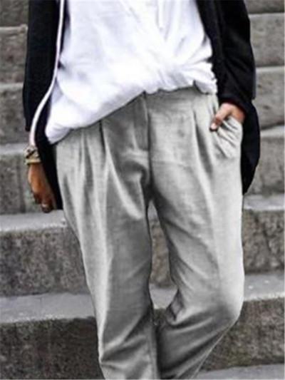 Women Casual Harem Pants Autumn Solid Cotton Linen Pants