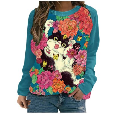 women's clothes casual round neck cute flower cat printing long-sleeved pullover