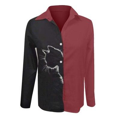 Cat Print Blouse Cardigan Long Sleeve Shirt Tops Button Blouse
