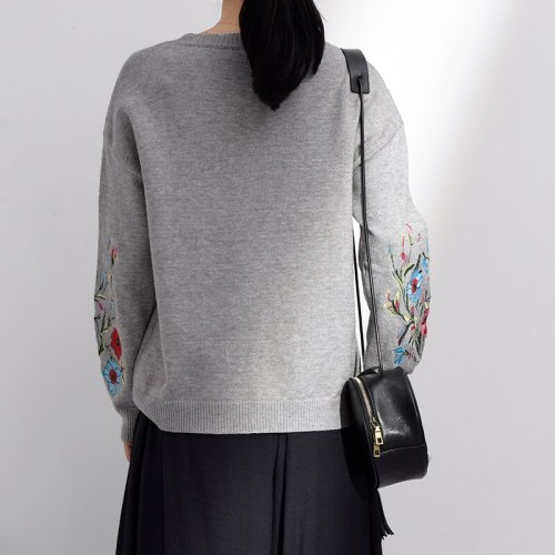 Spring Autumn Round Neck Long Sleeve Flower Embroidered Knitting Warm Loose Sweater Pollovers