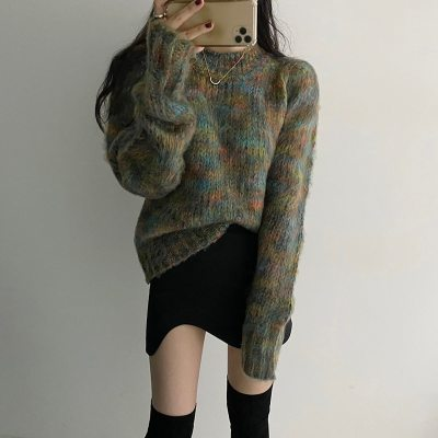 New Retro Women Printing Sweater Pullovers Thick Knitted Casual