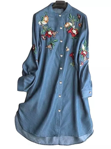 Fashion Denim Blue Shirt Women's Embroidery Blouse Casual Long Sleeve Female Button