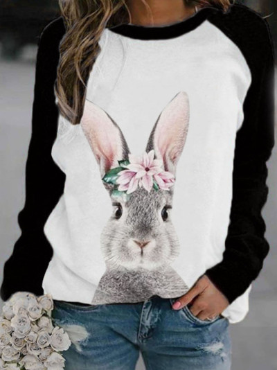 women's pullover sweater fashion cute animal print round neck long sleeve sweater