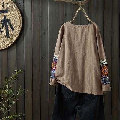 Women's Patchwork Blouse Stylish Printed Long Sleeve Shirts O Neck