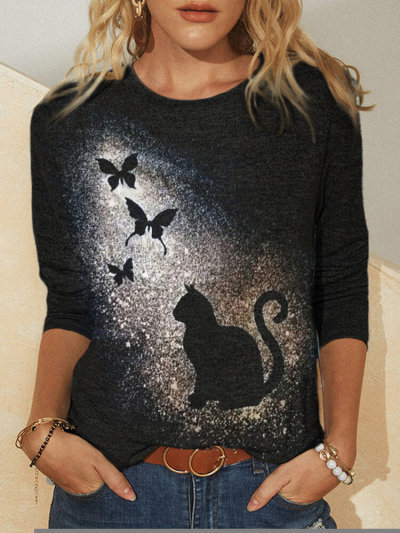 Cat Print Fashion Casual Long Sleeve Round Neck T-Shirt Spring Women's Clothing