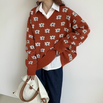 Women Sweaters Floral Printing Knitted Pullovers Retro Tops V-Neck Loose Knitwear