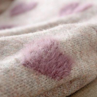 Heart Pattern Knit Pullover Sweater Soft Warm Cute Long Sleeve Fluffy Knitwear Female