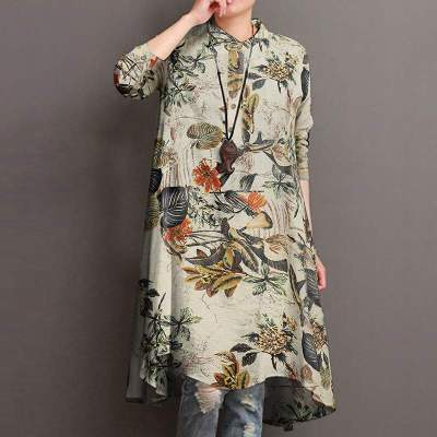 Women's Floral Blouses Elegant Shirt Casual Long Sleeve Long Tops