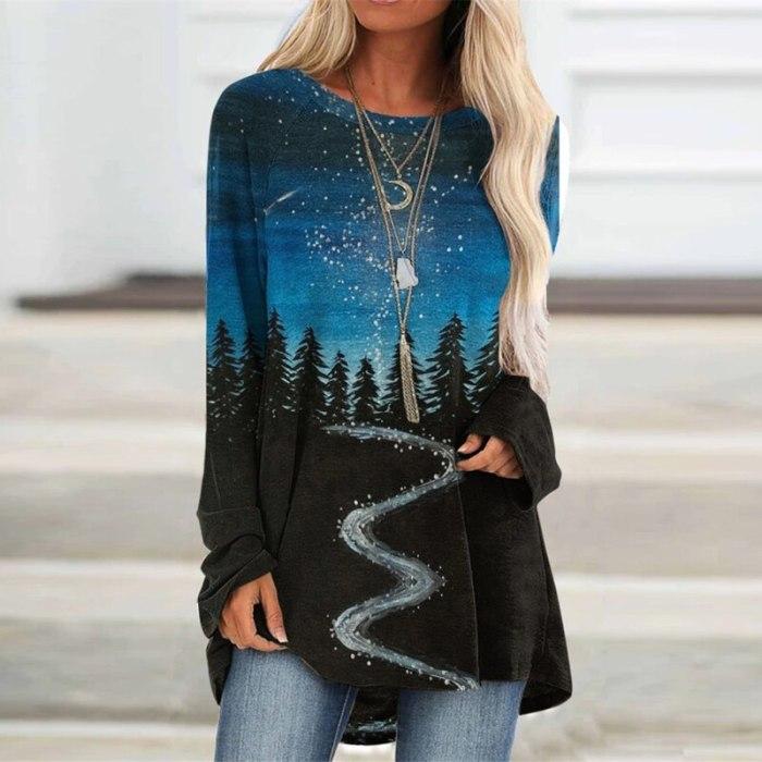 Landscape Print Oversized Women Blouse Fashion O-neck Long Sleeves Shirt Loose Tops