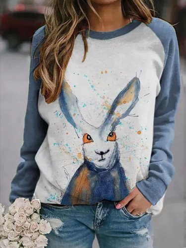 women's pullover sweater new cute rabbit print raglan long-sleeved