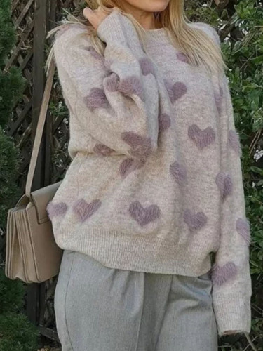 Heart Pattern Knit Pullover Sweater Soft Warm Cute Long Sleeve Fluffy Knitwear Female