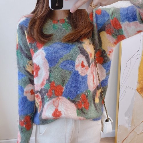 Wool Mohair Women Sweater Oil Floral Painting Print Loose Slim Knit Pullover Sweater