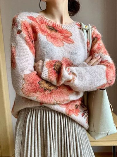 Pink Sweater Knit Sweater Chic O Neck Multicoloured Floral Print Pullovers
