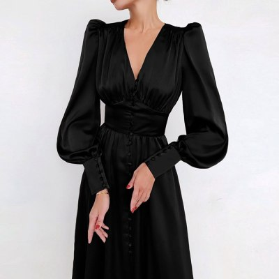Elegant Retro Satin Dress Lantern Sleeves High Waist Slim V Neck Vintage Dresses