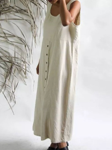 Summer Sleeveless Cotton Linen Long Dress Women Elegant Buttons Solid Sundress