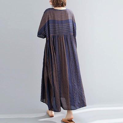 Polka Dot Striped Summer Dress Women Cotton Casual Vintage Dress