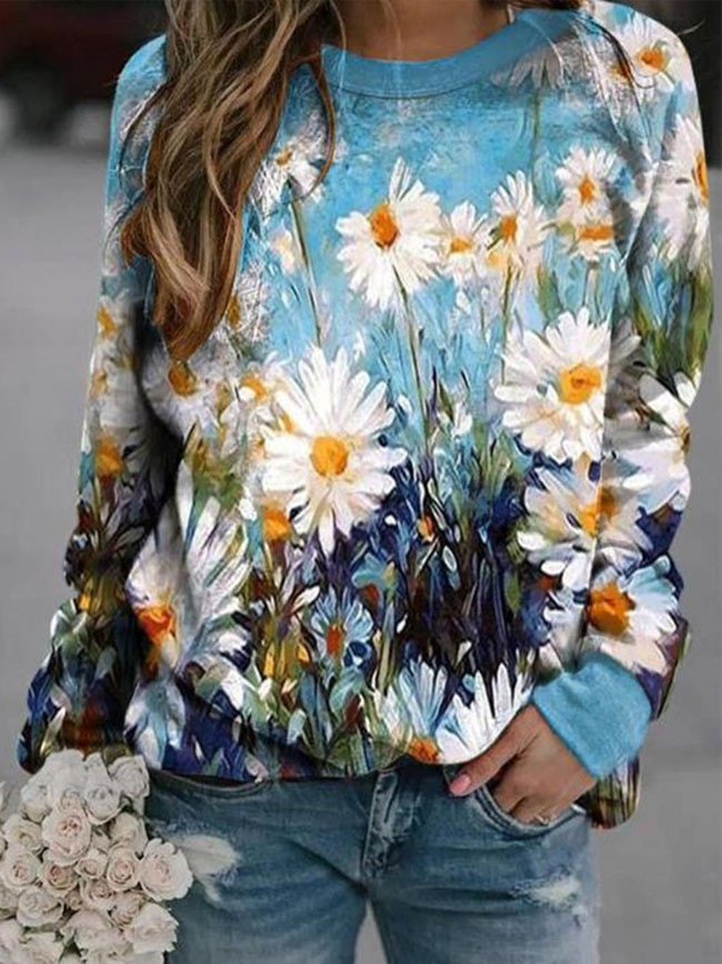 Women's winter pullover fashion small fresh retro printing long-sleeved