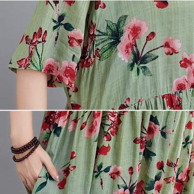 Summer Beach Dress Cotton Dresses for Women Vintage Print