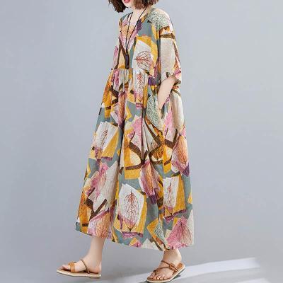 Cotton Summer Beach Dress Floral Print Long Elegant Casual Dress