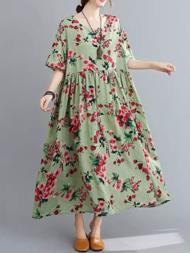 Summer Beach Dress Cotton Dresses for Women Vintage Print